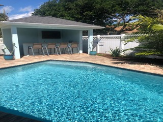 Coastal 3 bedroom pool home with private cabana and just steps to beach-